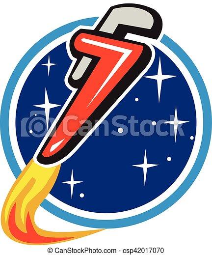 Cohete de la llave de tubo que despega del círculo espacial retro - csp42017070