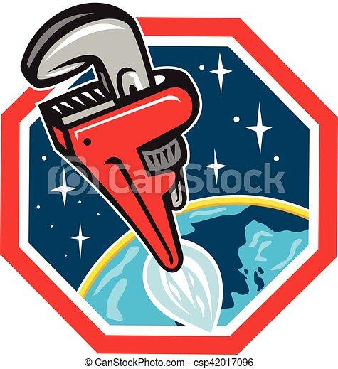 Aumentador de cohetes de la llave de tubería disparando a Hexagon retro - csp42017096