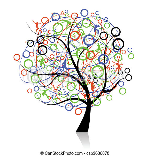 Conectando gente, árbol genealógico - csp3636078