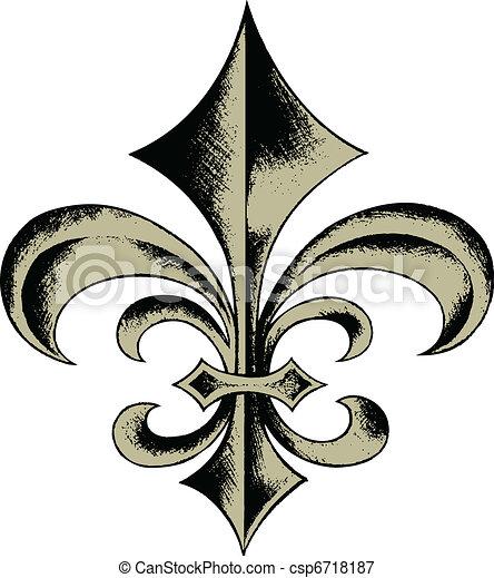 Fleur de lis escudo emblemático - csp6718187