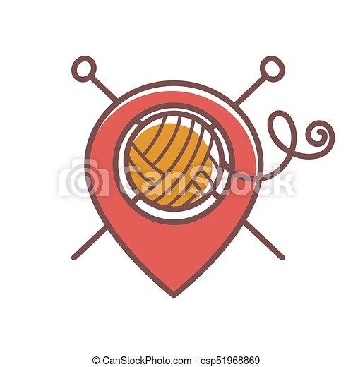 Bola de hilos de lana y agujas cruzadas para tejer - csp51968869