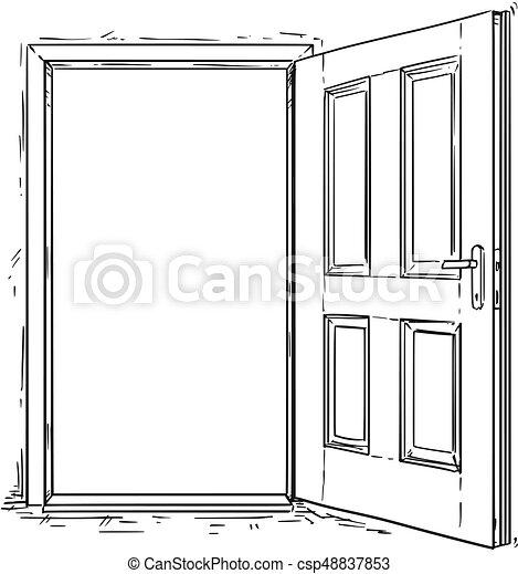 Vector de dibujos animados de puerta abierta de madera - csp48837853
