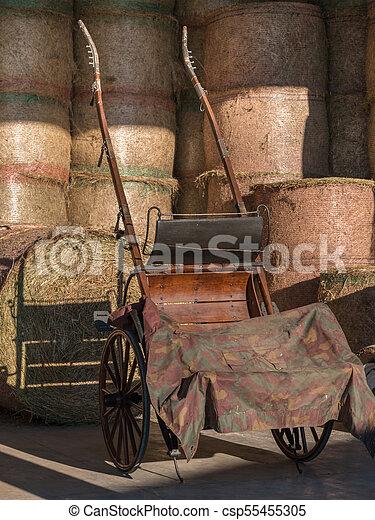 Paquetes redondos de pajares y carros de madera en el campo - csp55455305