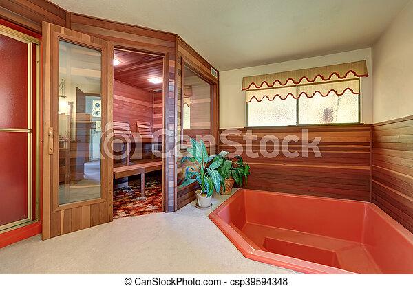 De madera ba o jacuzzi interior hogar sauna caba a for Jacuzzi interior precios