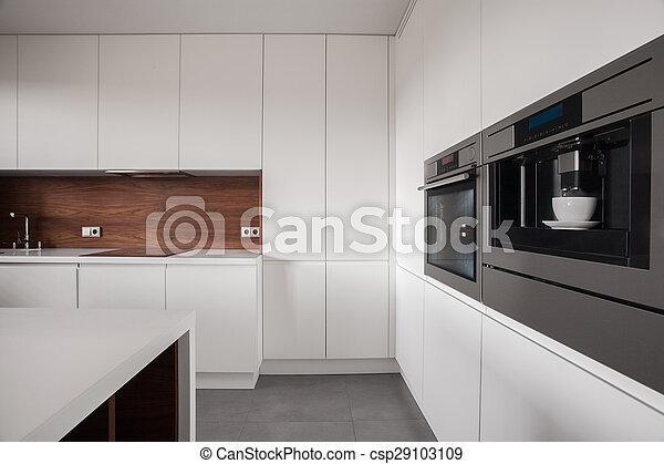 De madera, blanco, muebles, cocina. De madera, blanco ...