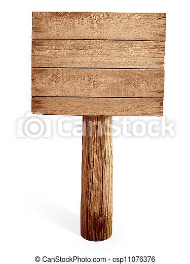 Un cartel de madera aislado en blanco - csp11076376
