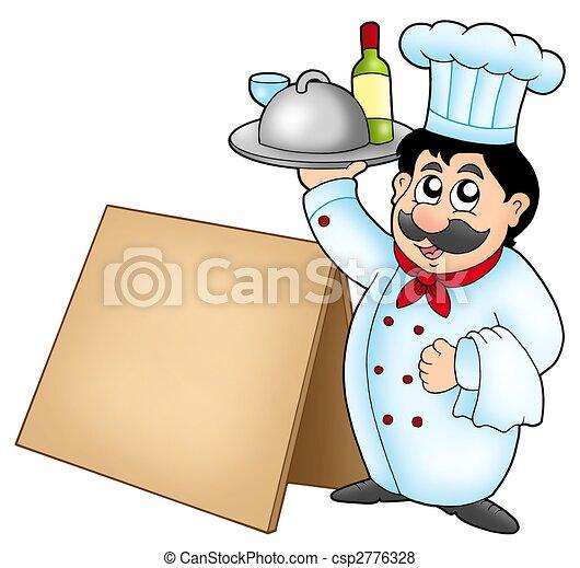 Chef sosteniendo comida con mesa de madera - csp2776328