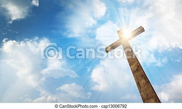 de madera, cielo, cruz - csp13006792