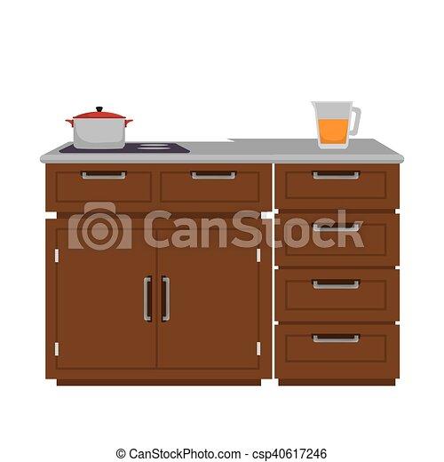 de madera, cocina, muebles
