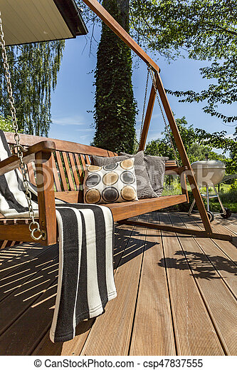 De madera columpio jardn terraza Parrilla almohadas