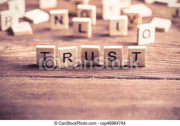 Palabra de confianza de elementos de madera - csp46964744