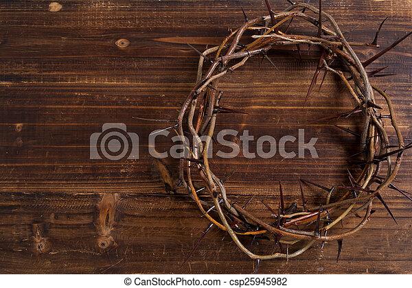 de madera, -, corona, plano de fondo, espinas, pascua - csp25945982