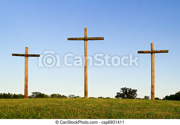 de madera, cruces, tres, colina - csp6931411