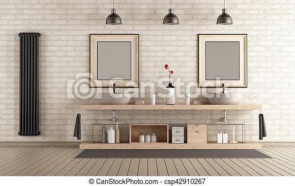 de madera, cuarto de baño, muebles modernos