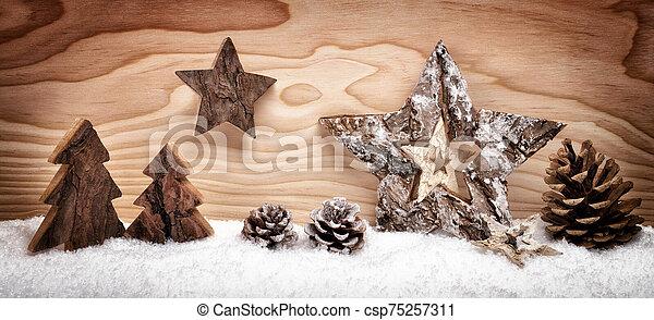 de madera, decoración, arreglo, navidad - csp75257311