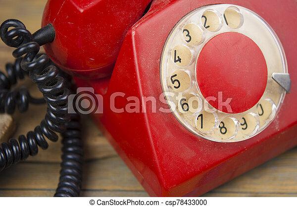 de madera, dial del teléfono, viejo, tabla, vendimia - csp78433000