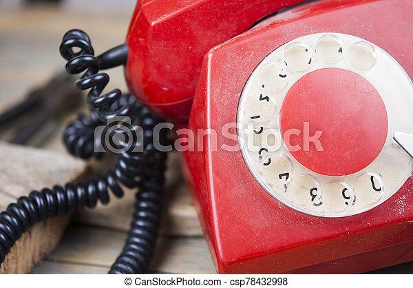 de madera, dial del teléfono, viejo, tabla, vendimia - csp78432998