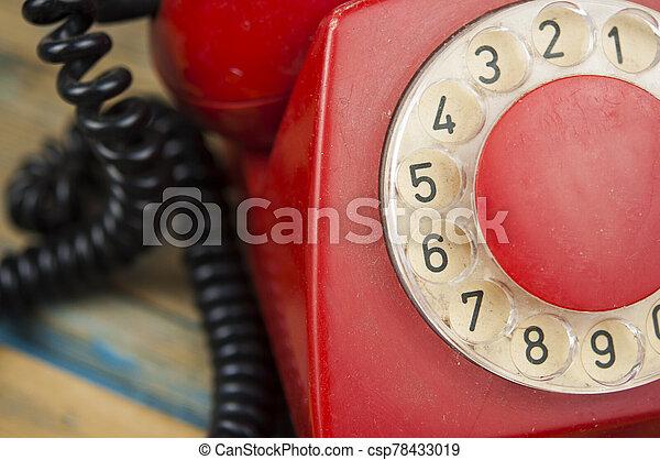 de madera, dial del teléfono, viejo, tabla, vendimia - csp78433019