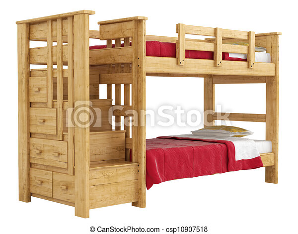 Enrejado, de madera, doble, litera, aislado, cama, armazón, bedlinen ...