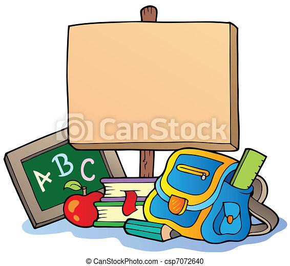 Tema escolar con tabla de madera - csp7072640