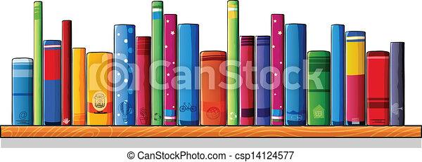 Un estante de madera con libros - csp14124577