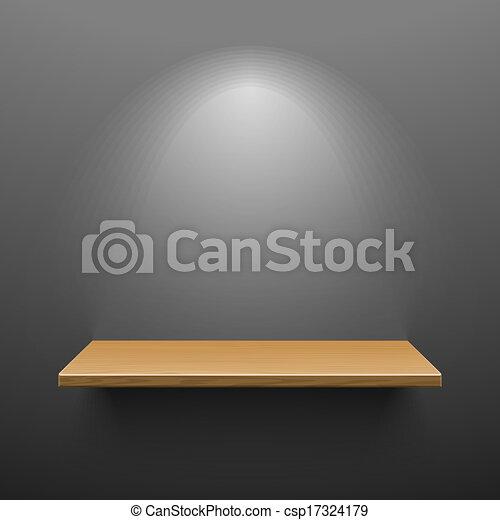 Un estante de madera en la pared oscura - csp17324179
