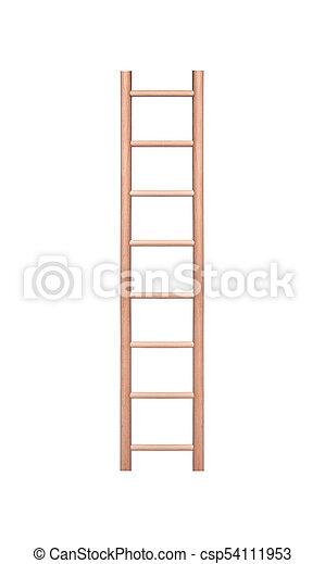 La escalera de madera aislada en el fondo blanco. - csp54111953