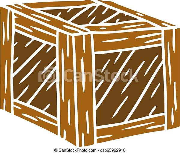 Un cartón de una caja de madera - csp65962910