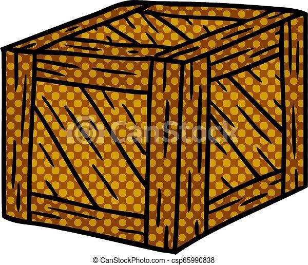 Un cartón de una caja de madera - csp65990838