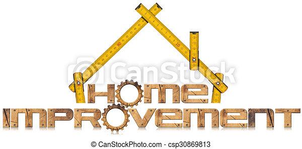 Simbolo de mejora con engranajes de madera - csp30869813