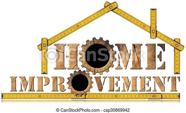 Simbolo de mejora con engranajes de madera - csp30869942