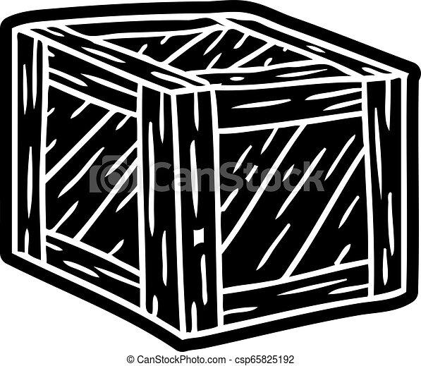 Dibujo de icono de dibujos de una caja de madera - csp65825192