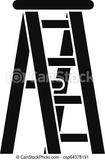 icono de la escalera de madera, estilo simple - csp64378191