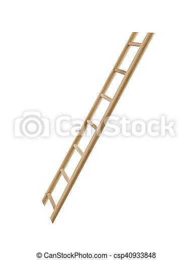 Escalera de madera aislada. - csp40933848