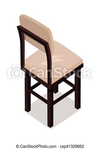 De madera, isométrico, silla, cocina. Plano, isométrico, elemento ...