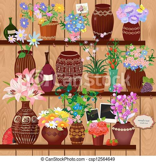 de madera, macetas, estantes - csp12564649