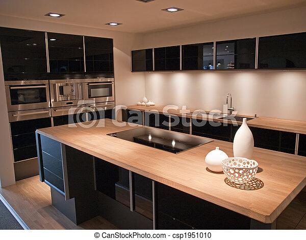 De madera, moderno, diseño, moderno, negro, cocina. Elementos ...