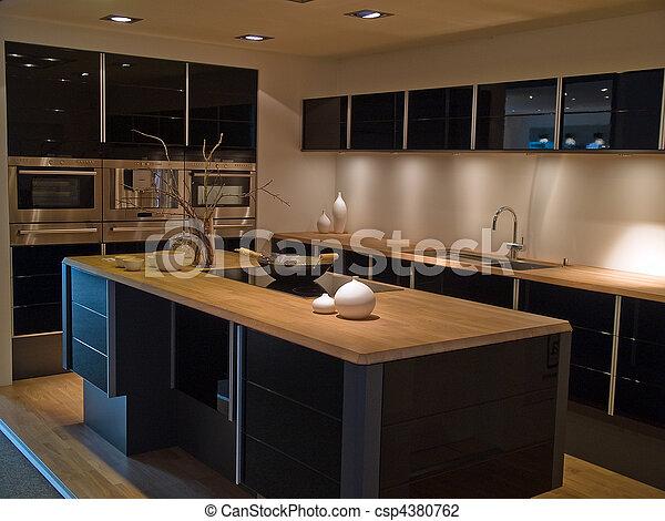 De madera, moderno, diseño, moderno, negro, cocina.... foto de ...