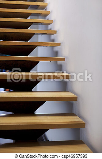 Escaleras modernas de madera - csp46957393