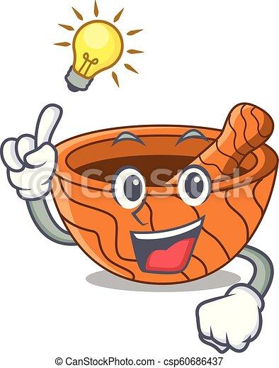 Tengo una idea de mortero de cocina de madera aislado en mascota - csp60686437