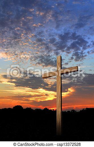 de madera, ocaso, cruz - csp13372528