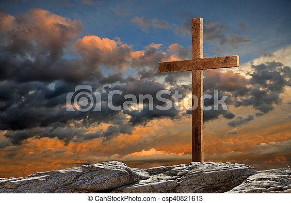 de madera, ocaso, cruz - csp40821613
