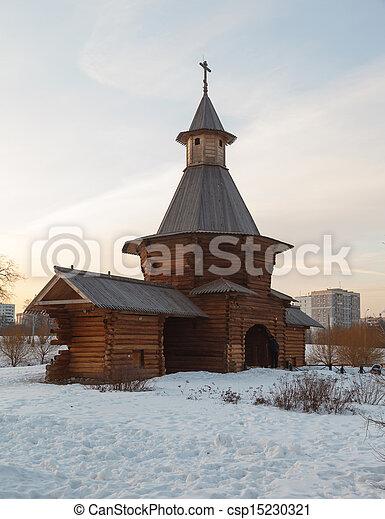 de madera, ocaso, iglesia - csp15230321