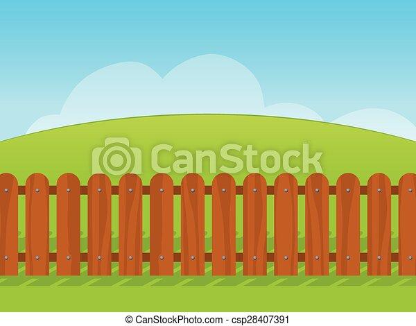 Un paisaje de dibujos animados con una valla de madera - csp28407391