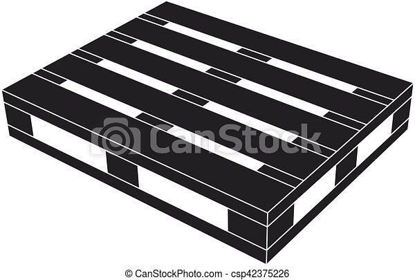 Simbolo negro de palé de madera - csp42375226