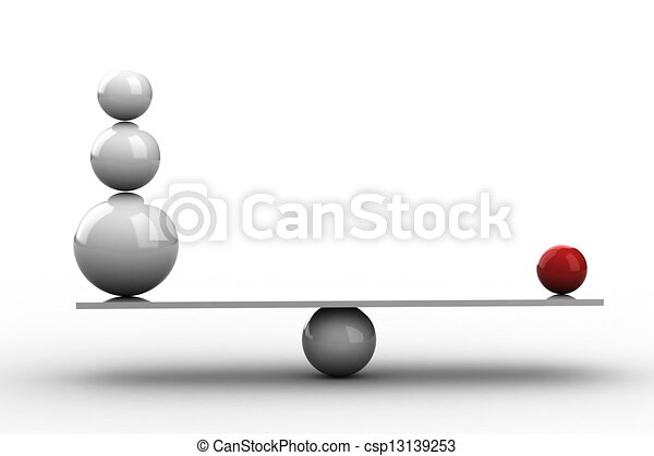 Bolas de balanza en tabla de madera - csp13139253