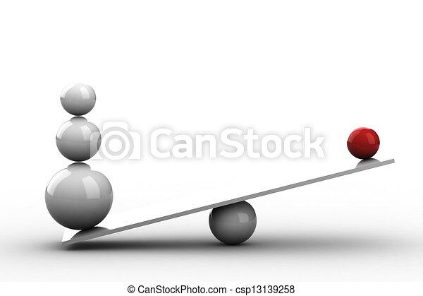 Bolas de balanza en tabla de madera - csp13139258