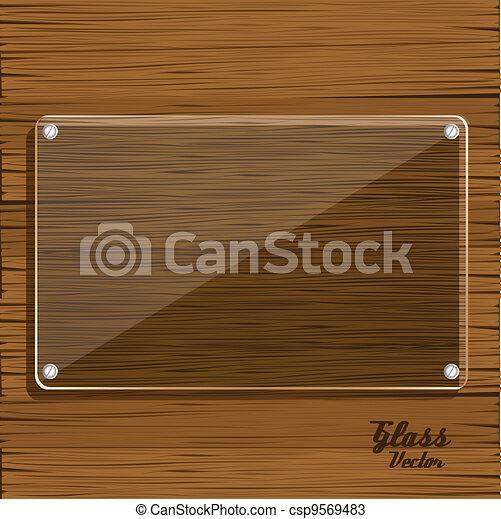 Placa de vidrio en madera - csp9569483