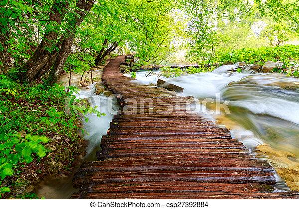 de madera, plitvice, parque nacional, trayectoria - csp27392884