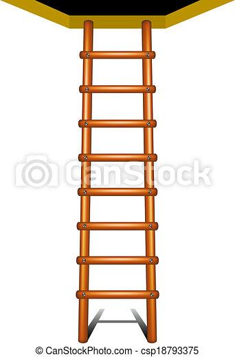 La escalera de madera está subiendo - csp18793375